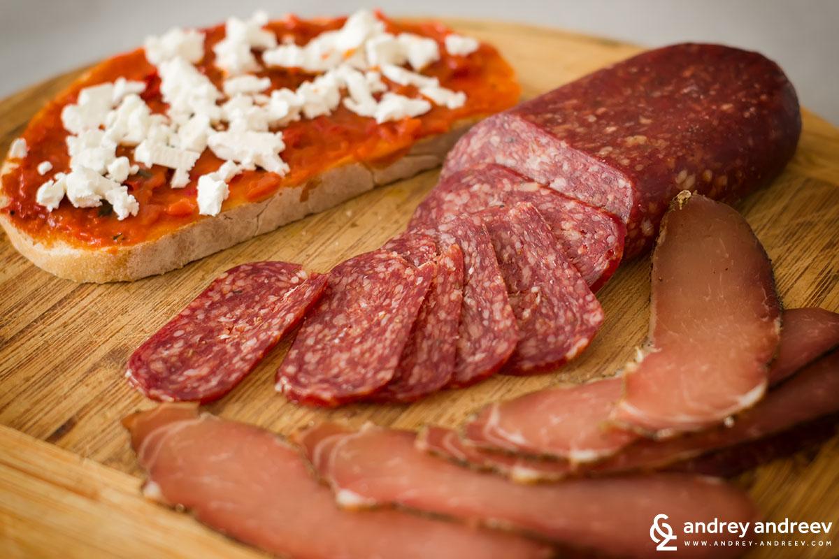 Toast with Lyutenitsa and cheese and Lukanka