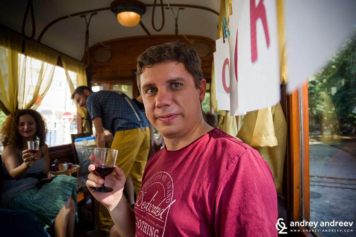 Me tasting wine