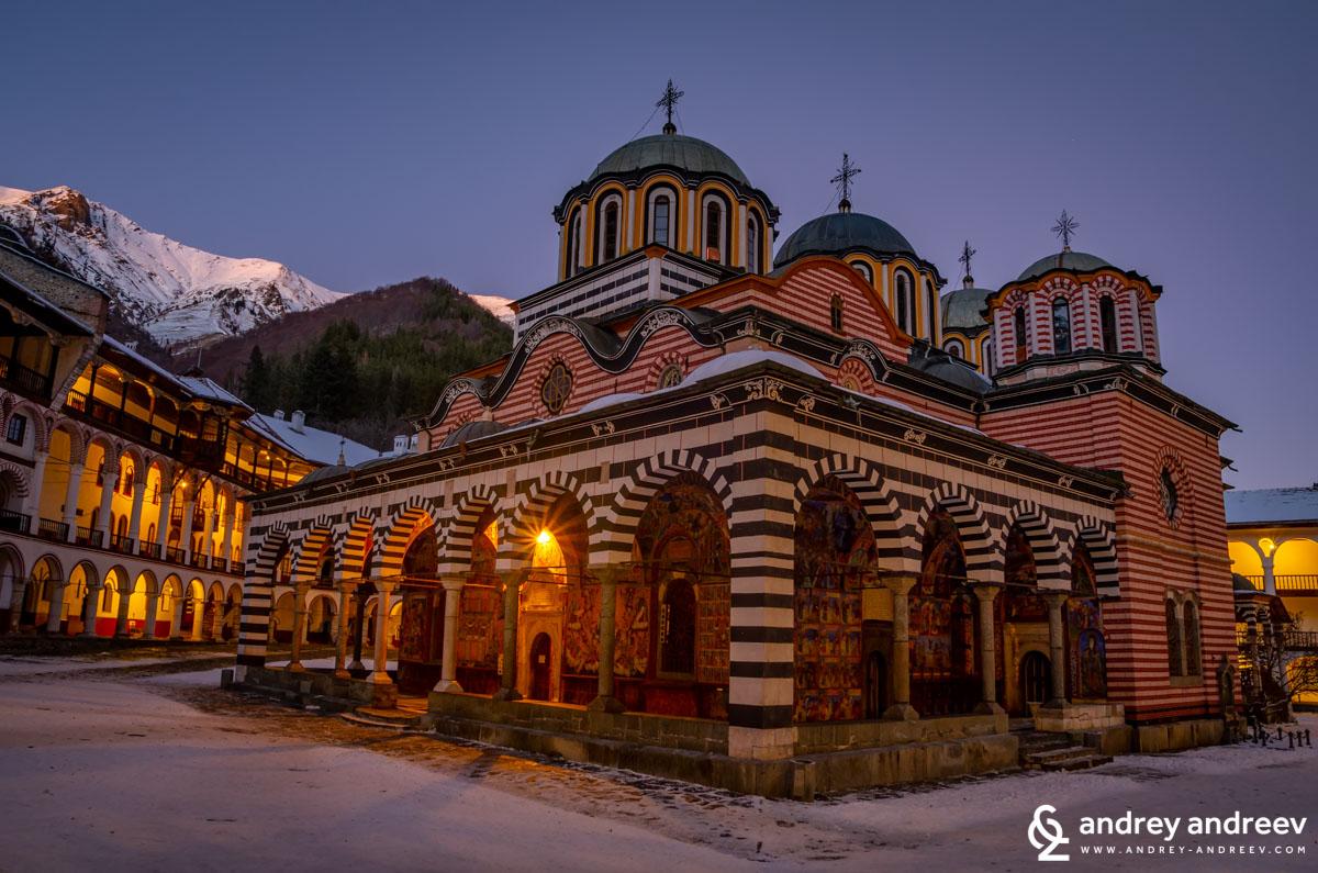 Rila monastery at night