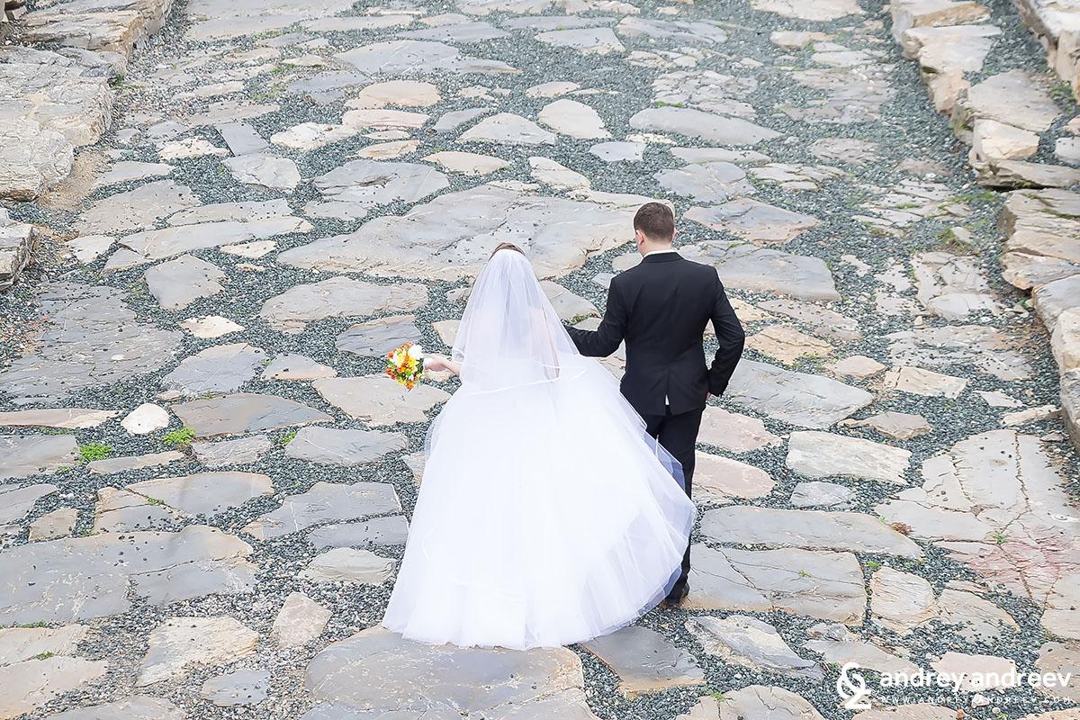 Newlyweds on The Roman street in Stara Zagora