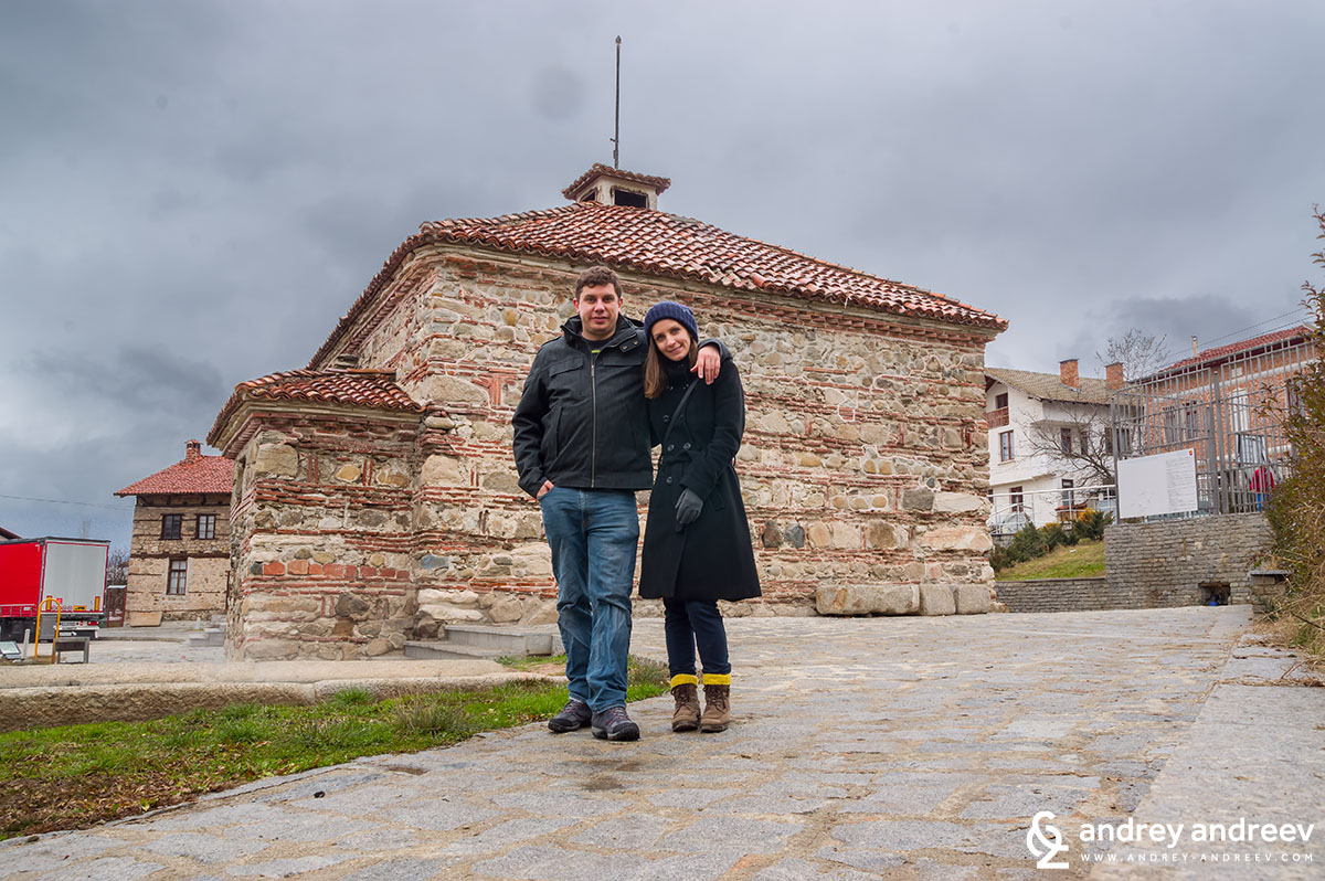 Andrey and Maria in front of the Bulgarian bath in Banya village
