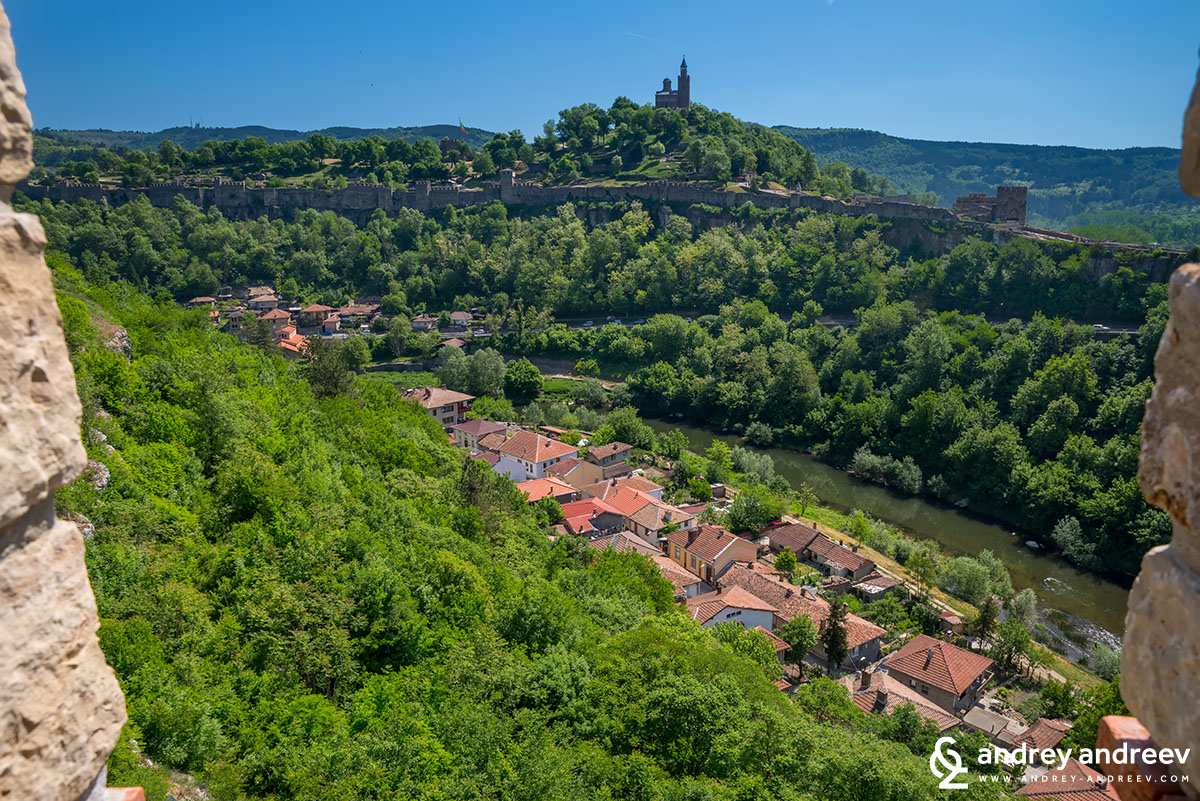 A view to Tsarevets hill from Trapezitsa - Veliko Tarnovo, Bulgaria