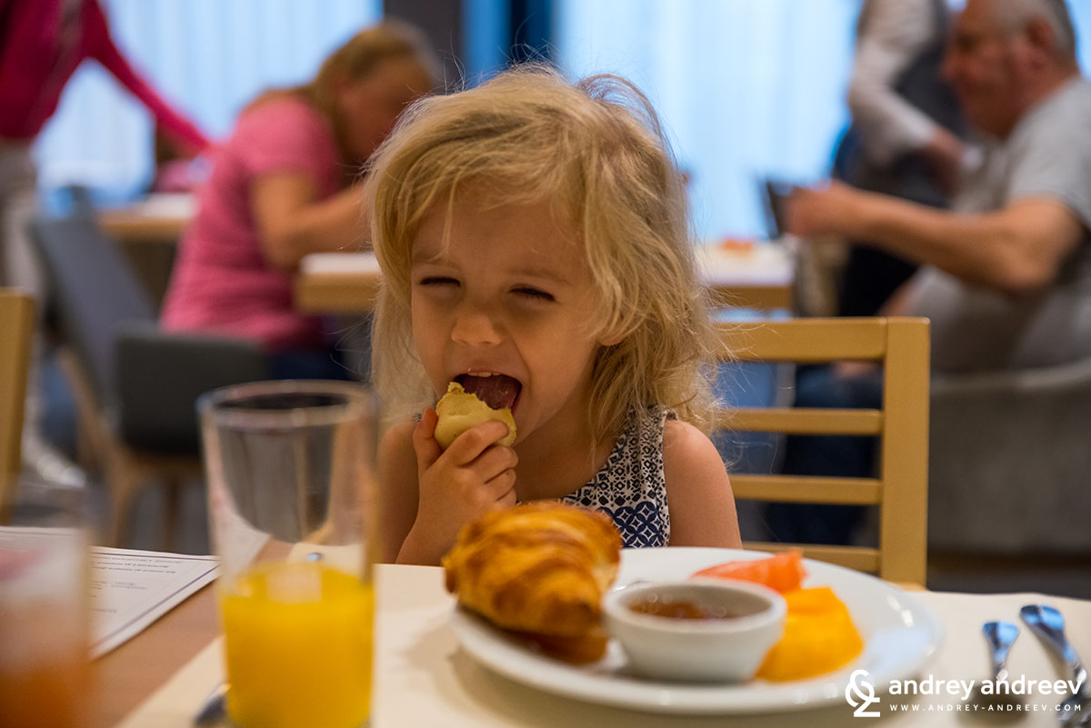 Anna having breakfast at hotel Lucky Bansko Bulgaria