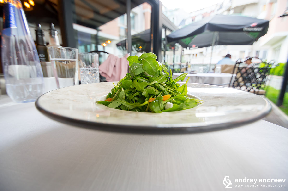 Salad with rucola and spinach, goat cheese pearls, dried fruit, balsamic sphere's and raspberry dressing - Tempero restaurant in Sofia Bulgaria, Sofia Restaurant week 2018
