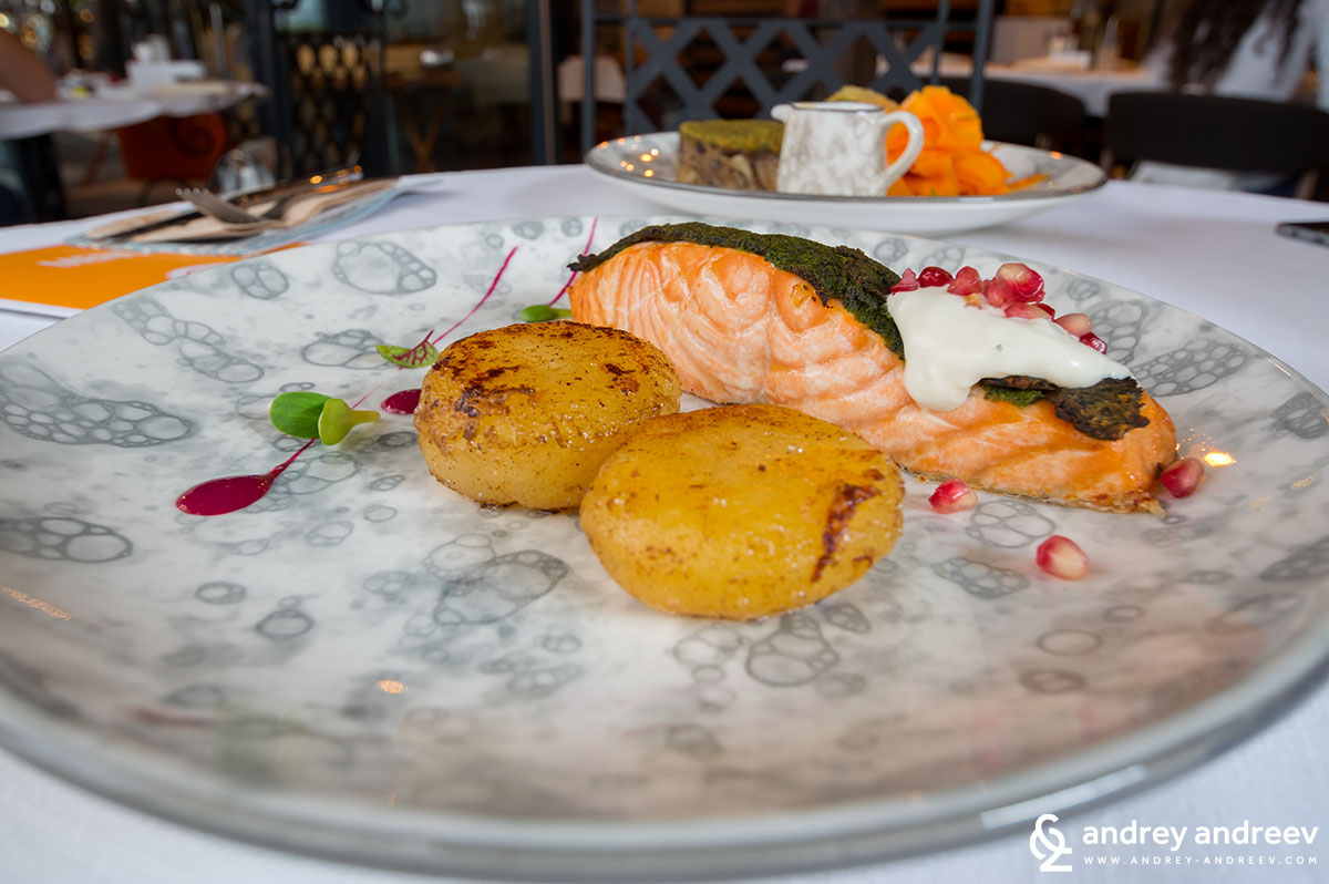 Poached salmon with nettles crust, lime cream with pomegranate and potato fondant - Tempero restaurant in Sofia, Sofia Restaurant Week 2018