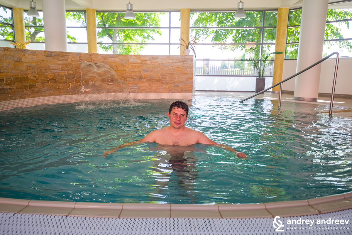Andrey relaxing in the pool