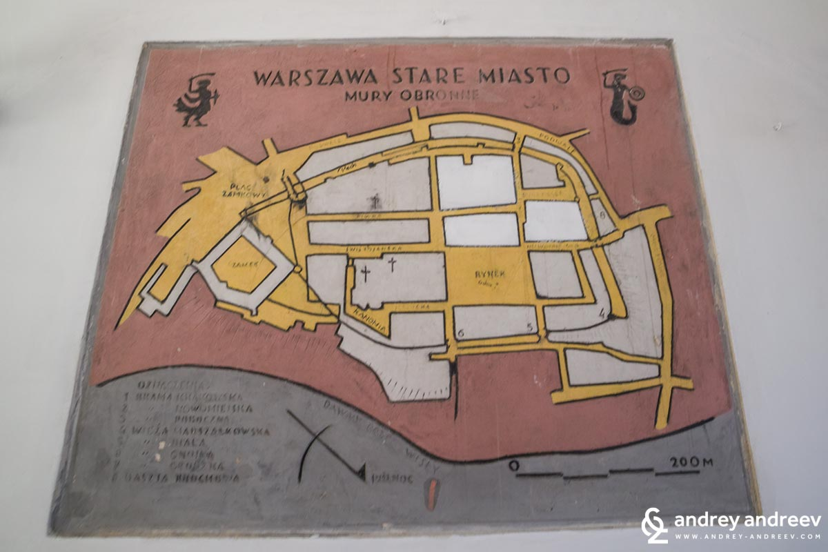 Map of the Old town of Warsaw, Poland