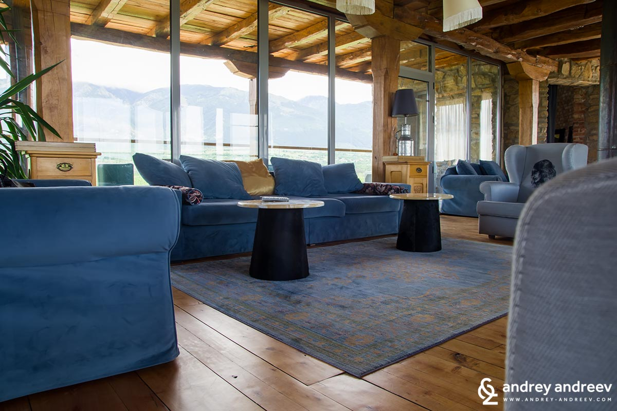 The lounge area at the top of Chateau Copsa
