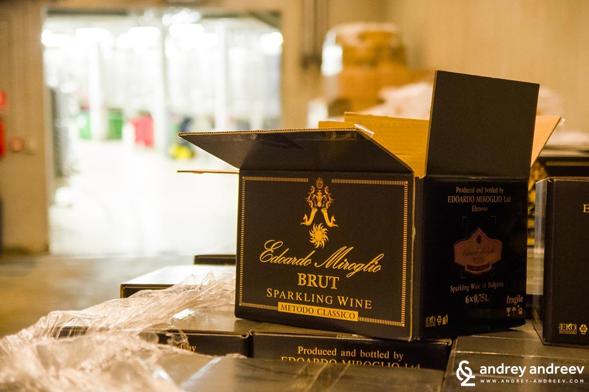 Boxes of Edoardo Miroglio Brut wines