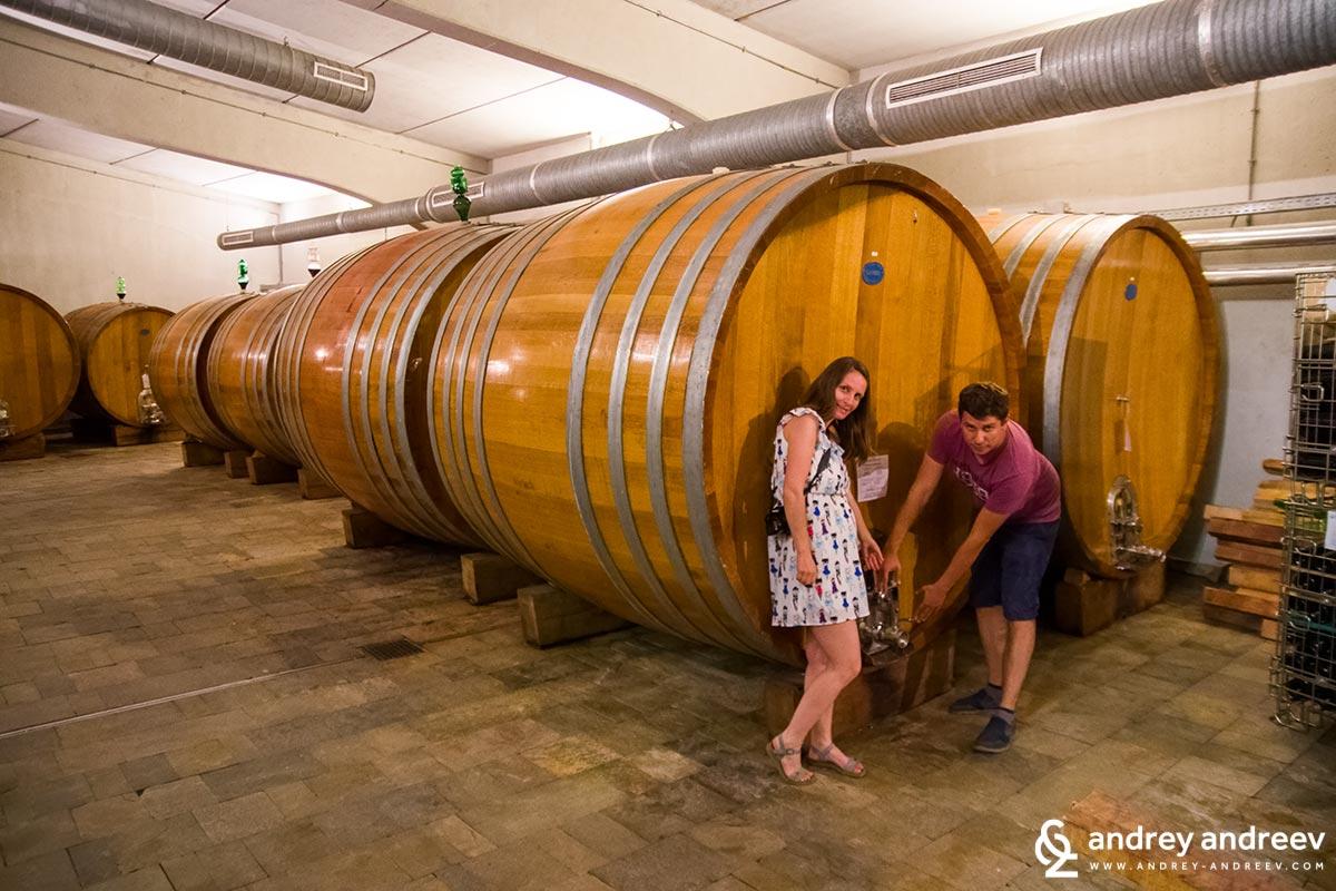 We loved these huge barrels at Edoardo Miroglio winery, Elenovo, Bulgaria
