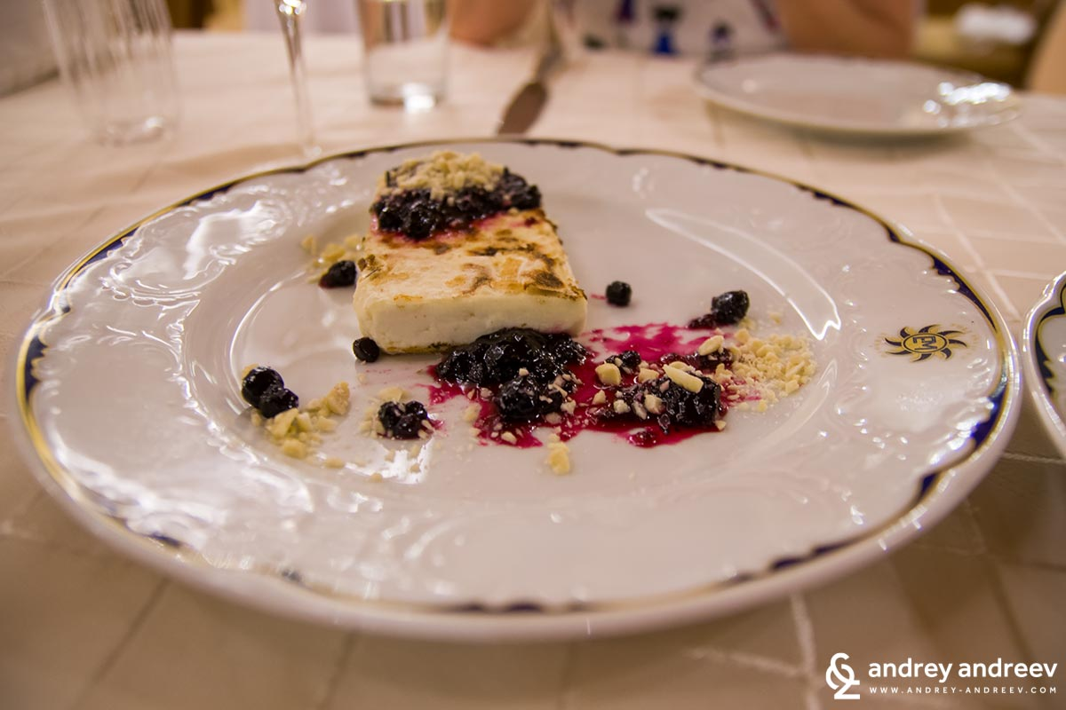Goat cheese with blueberry jam