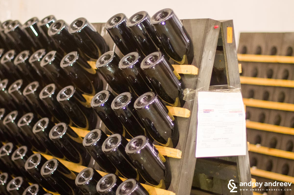 Last steps of the production of sparkling wines by classical method at Edoardo Miroglio winery, Bulgaria