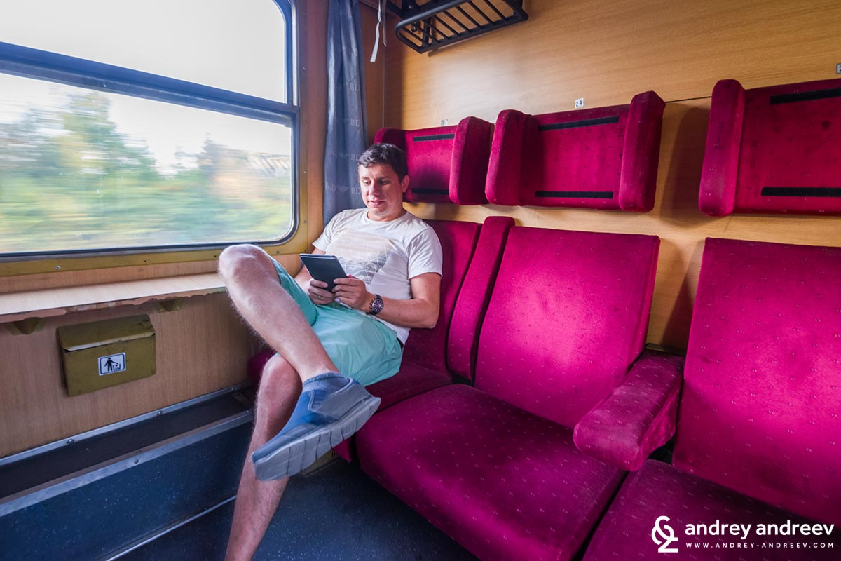 Andrey enjoying the train from Sofia to Plovdiv