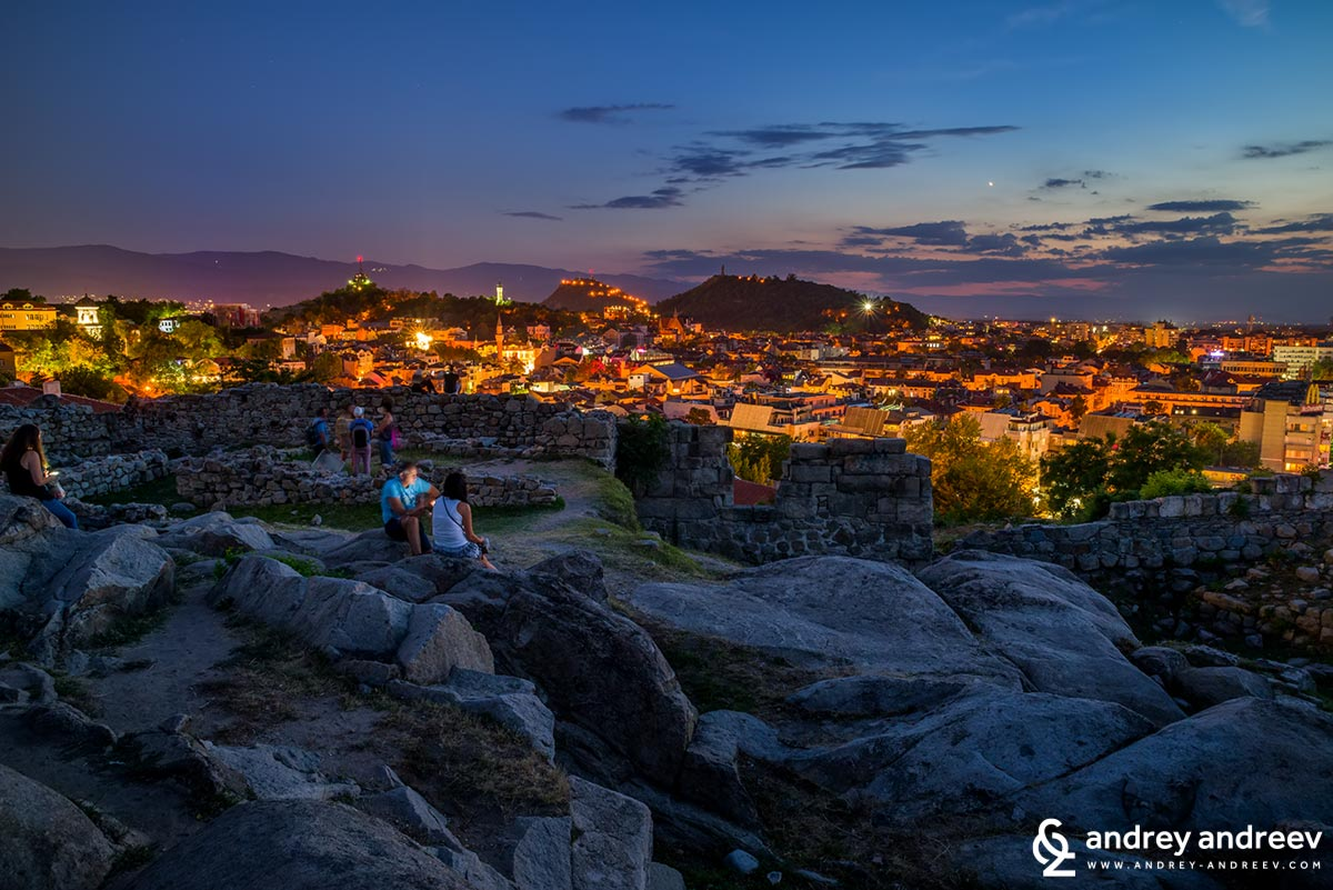 Night view from Nebet Tepe, Plovdiv, Bulgaria