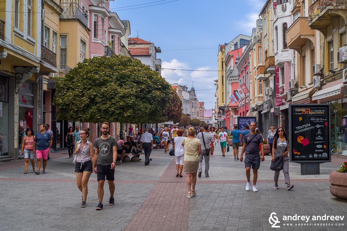 The main street in Plovdiv is lively day and night