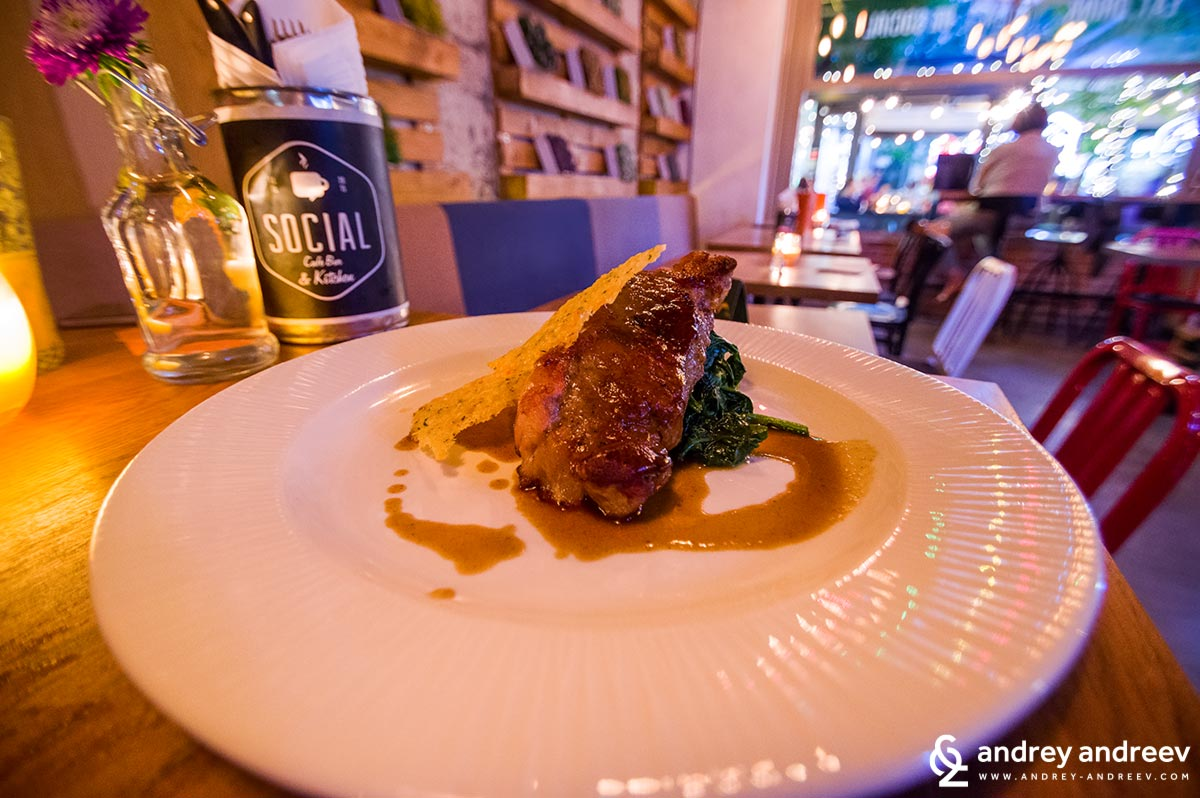 Milk-fed veal steak with steamed spinach - Social Cafe in Sofia Bulgaria