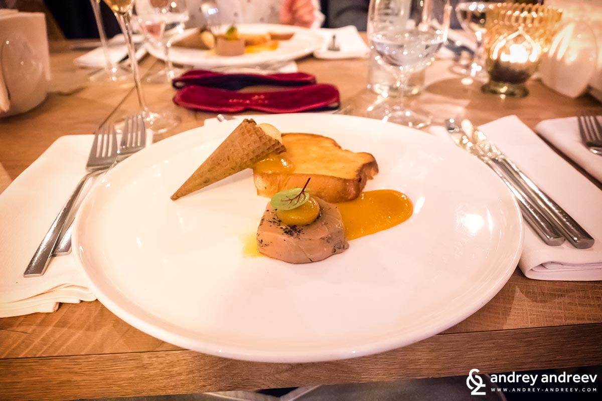 Foie gras with apricot jam, salty caramel ice cream and sweet bread - restaurant Ahora Sofia