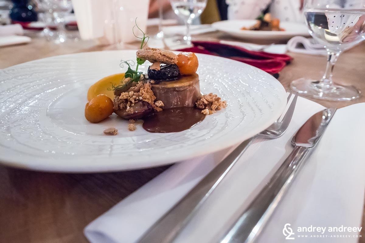 Pork neck steak with plums and sweet potato puree