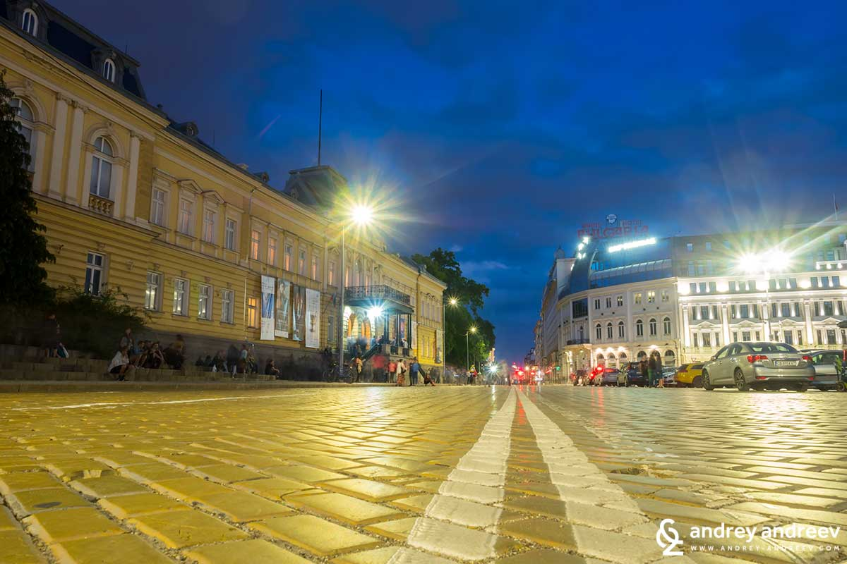 Yellow pavement in front of the Royal palace in Sofia, Bulgaria