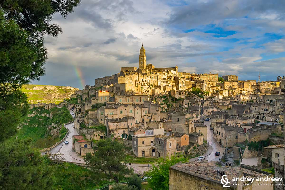 The rainbow above Matera