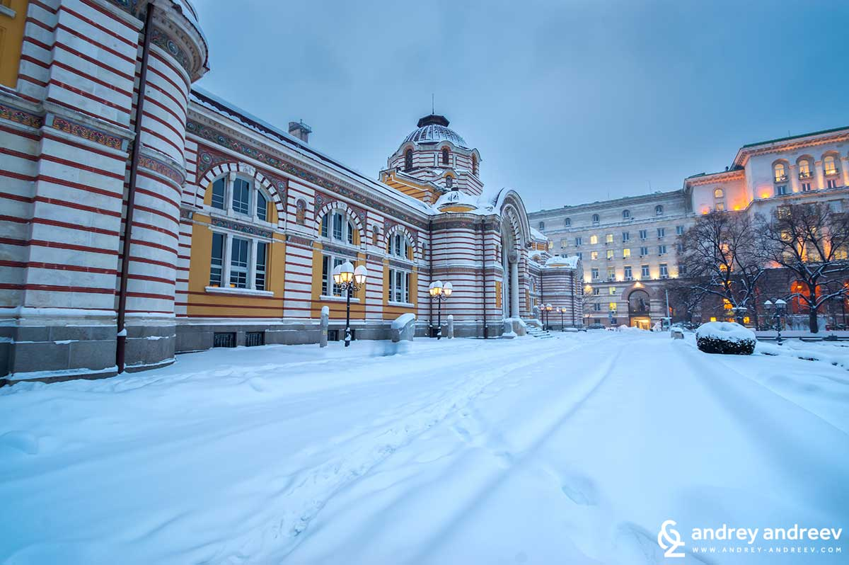 Sofia mineral bath building in the winter