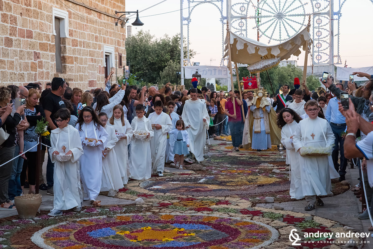 Flower carpet in Patu, Salento, South Italy, during the Corpus Domini festival in June