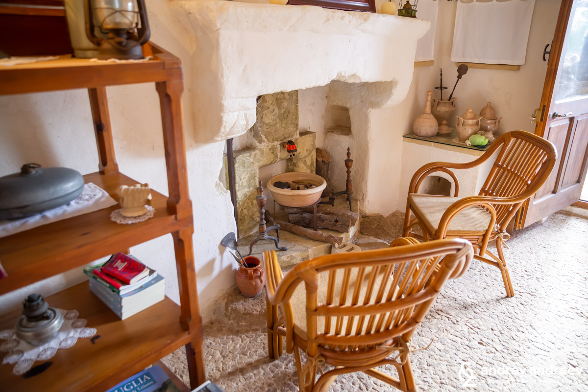 Another cozy fireplace at Masseria Santu Lasi