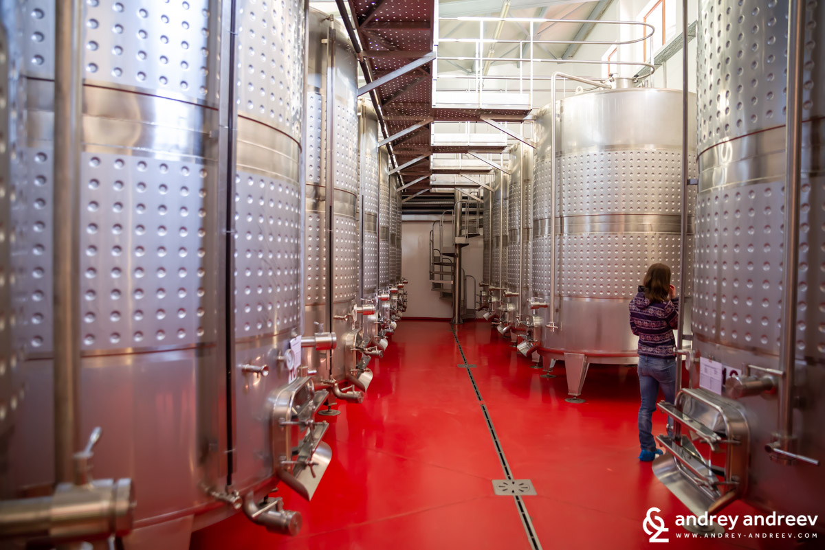 The hall with fermentation tanks at Rupel Winery