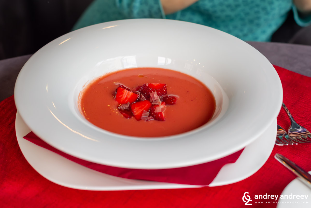 Gazpacho with spring strawberries