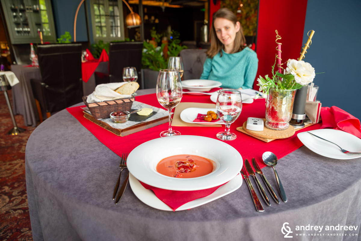 Gazpacho with spring strawberries at Best Boutique Hotel, Stara Zagora, Bulgaria
