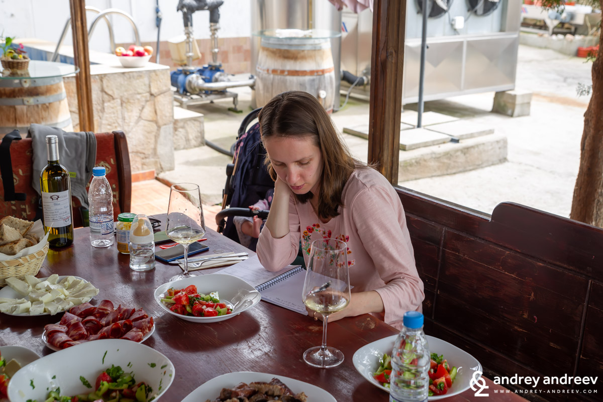 Maria taking tasting notes while baby Adriana enjoys the day in her stroller behind - Chateau Kolarovo, Bulgaria