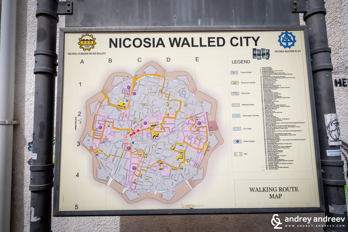 A map of the surrounded by walls old town of Nicosia with a couple of walking routes