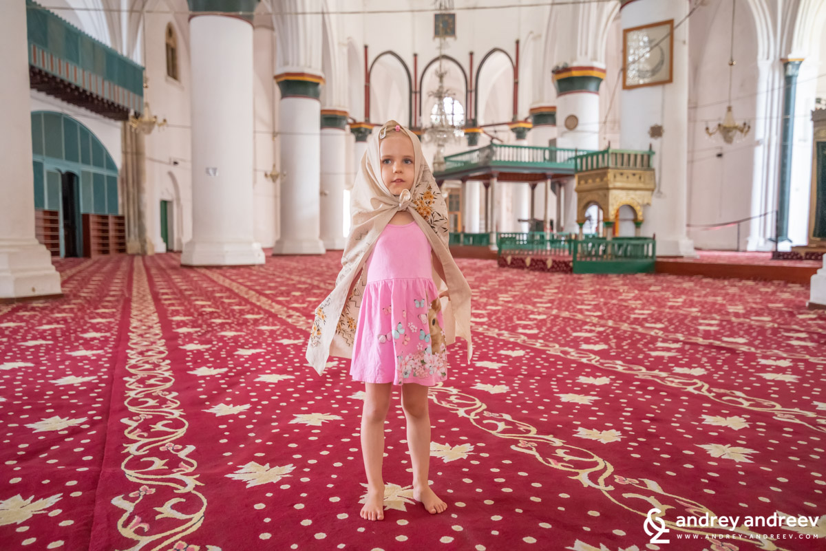 Our daughter Anna at Selimiye mosque in Nicosia