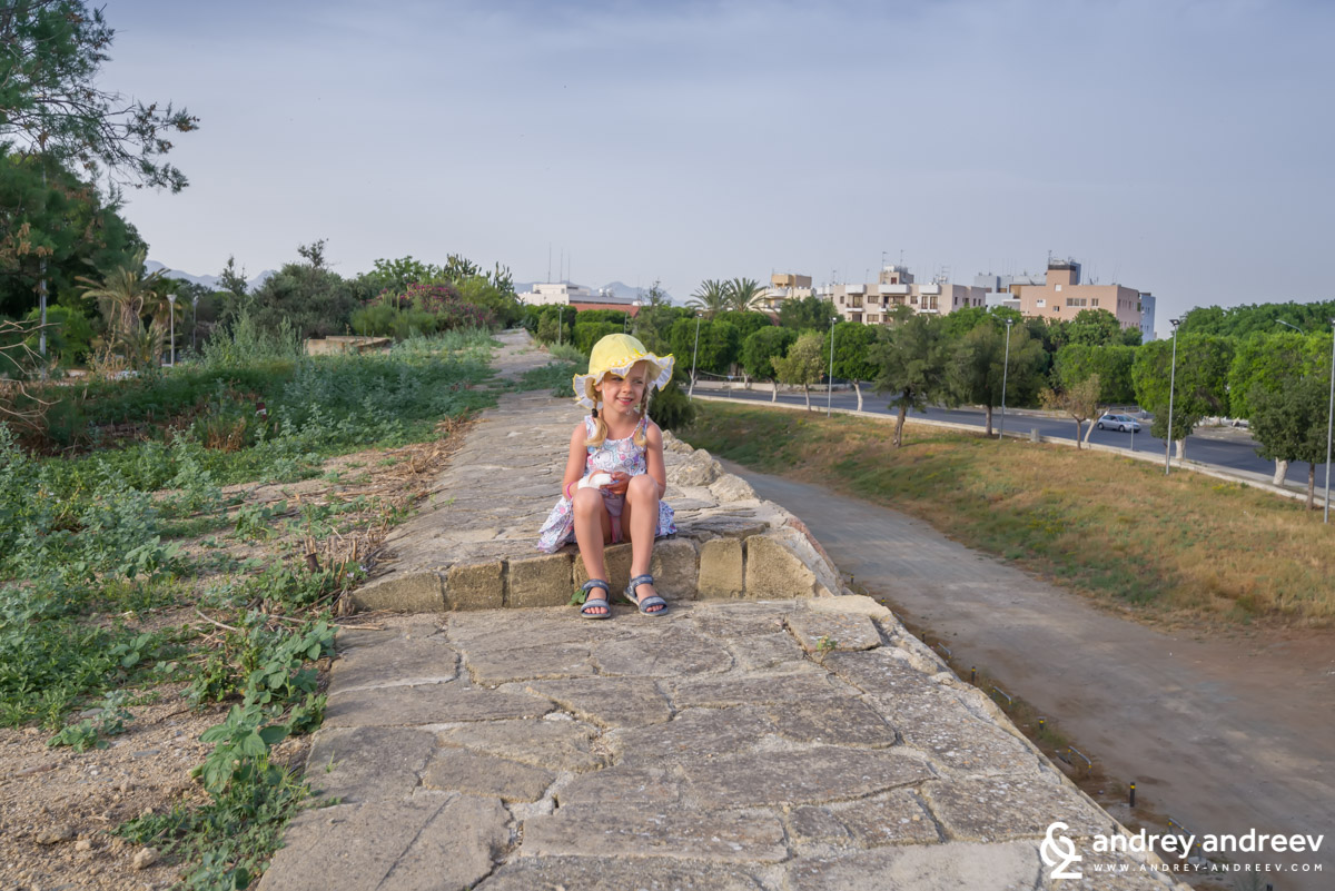 Anna on the wall of one of the bastions in Nicosia