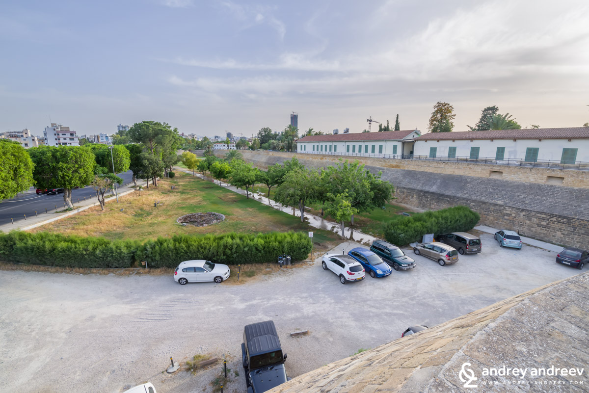 Parks and car parkings in the moat of Nicosia fortress
