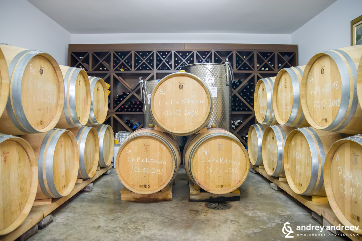 Our favourite place in every winery - the cellar with the barrels - Uva Nestum Wine and Spa, Bulgaria
