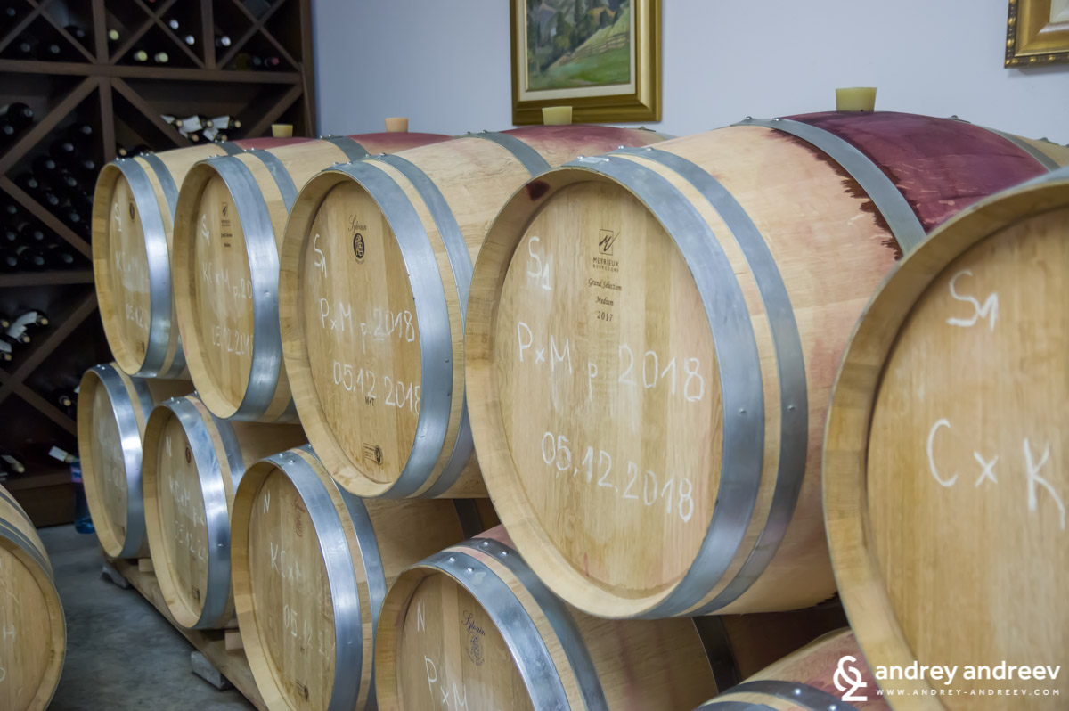 French oak barrels at Uva Nestum winery, Bulgaria