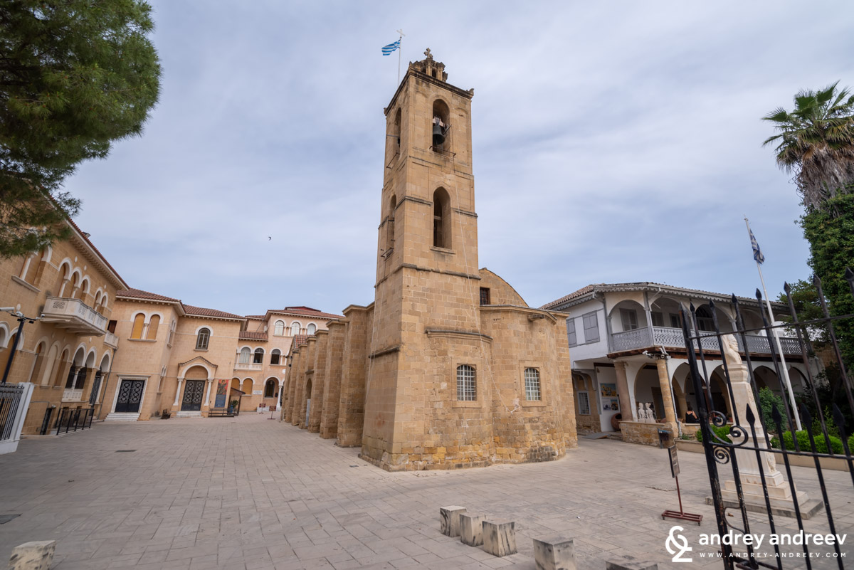 St. John cathedral in Nicosia, located just next to the Archbishop's palace. The buildings on the right are museums
