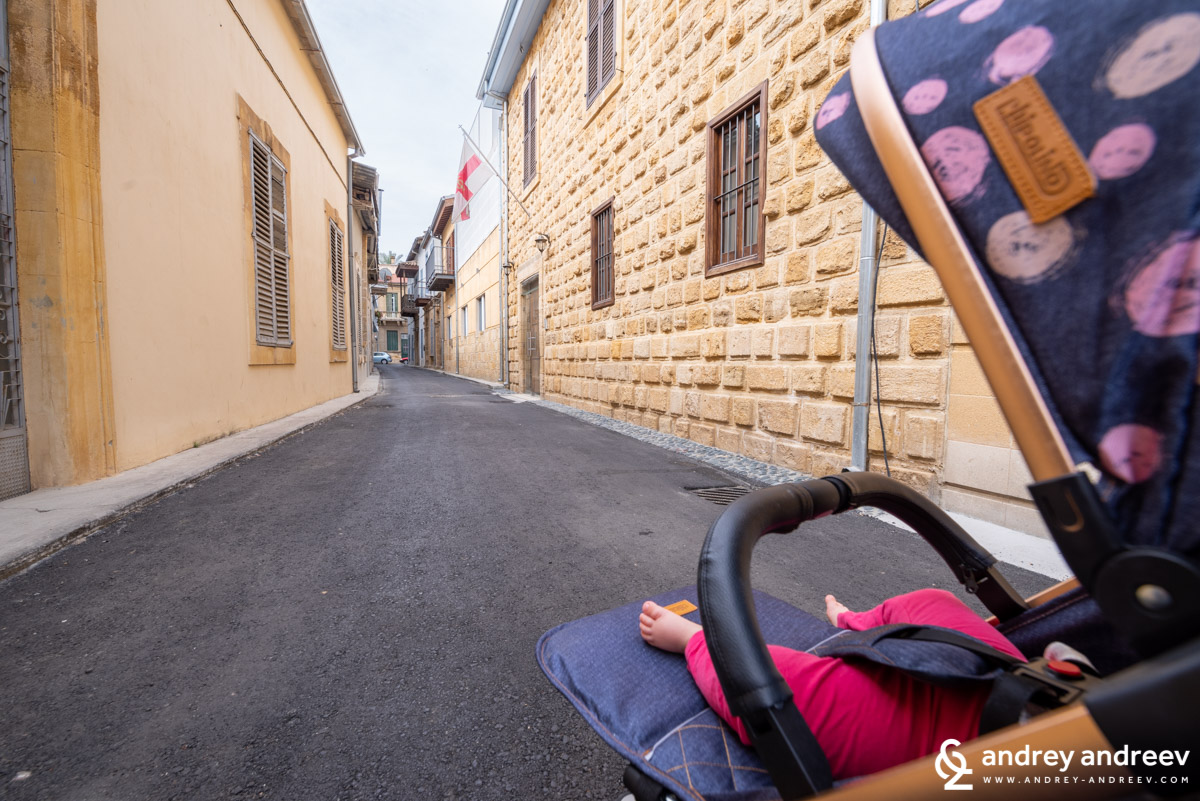 Exploring the streets of Nicosia with baby Adriana