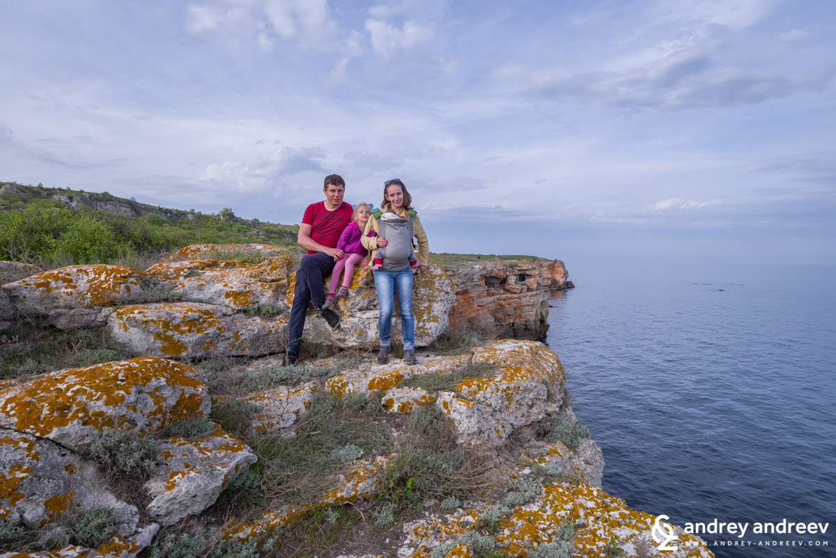 The Andreev family on the rocks of Yailata, Bulgaria