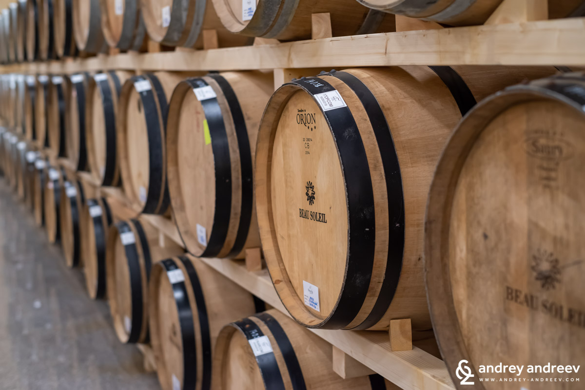 Oak barrels with commandaria at Oenou Yi winery, Cyprus