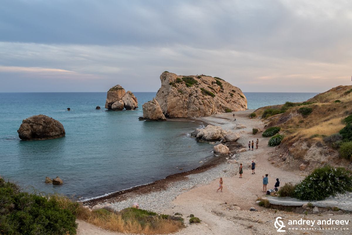 The beach and rock of Aphrodite