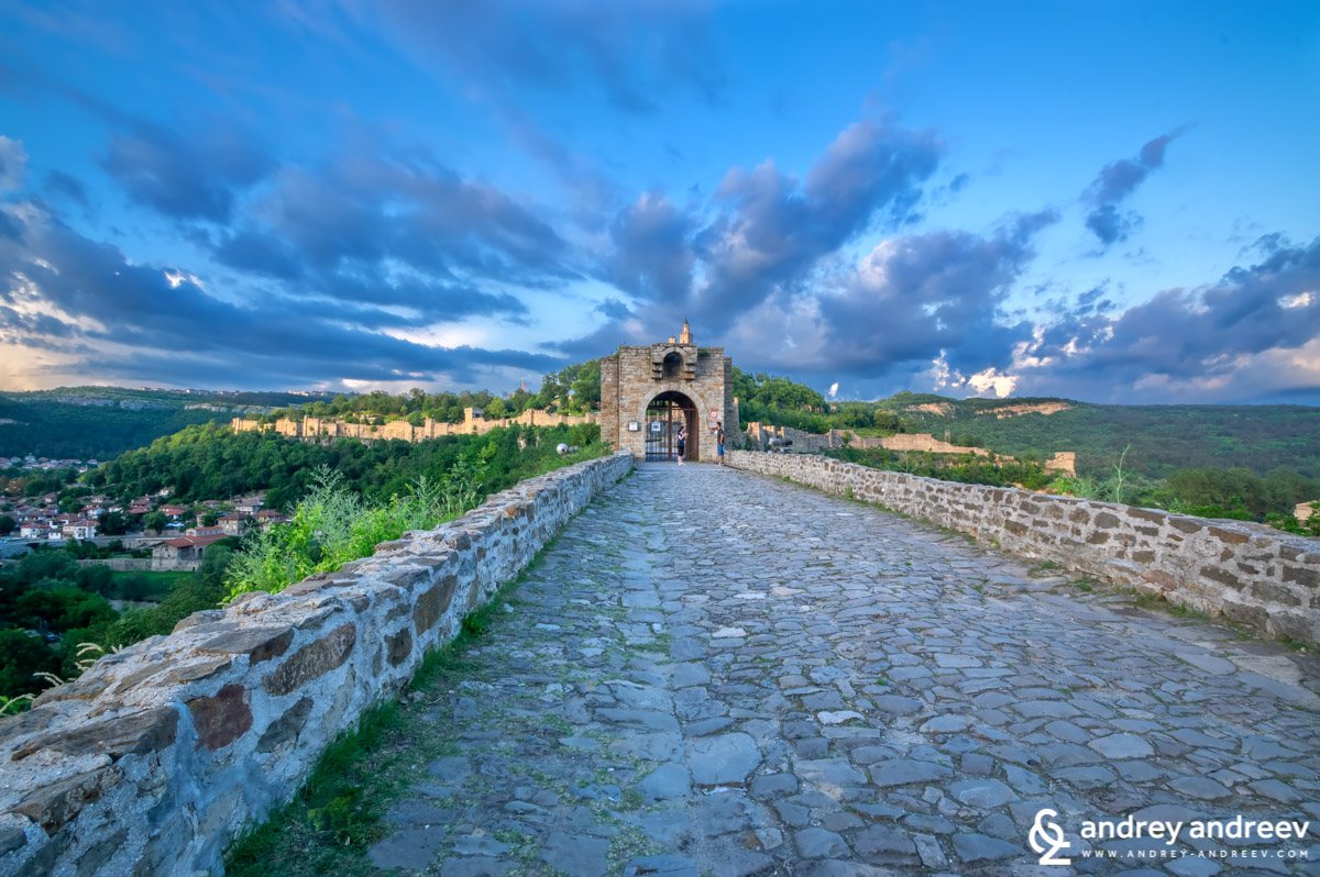 The entrance to Tsarevets fortress on sunset, Veliko Tarnovo, Bulgaria