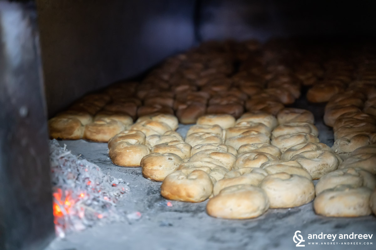 Delicious breads in the oven