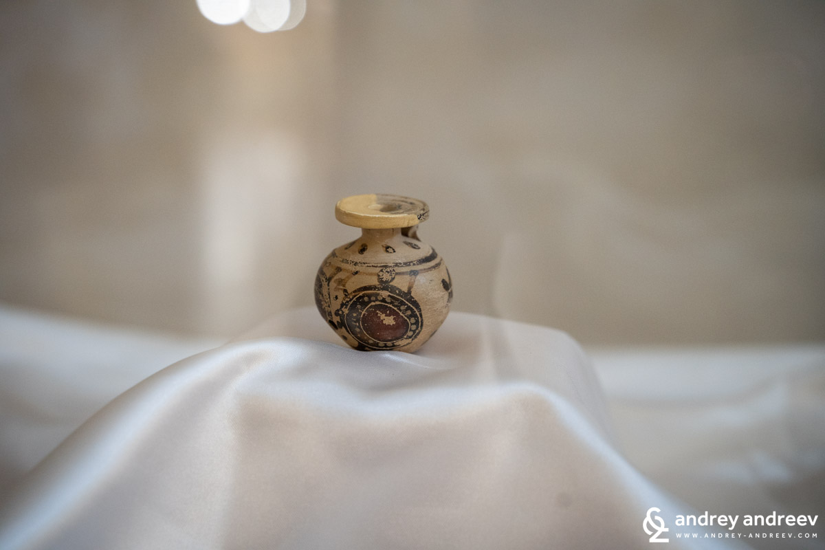 A tiny botthe for perfume, one of the most important artifacts in the Ceramics Museum in Grottaglie