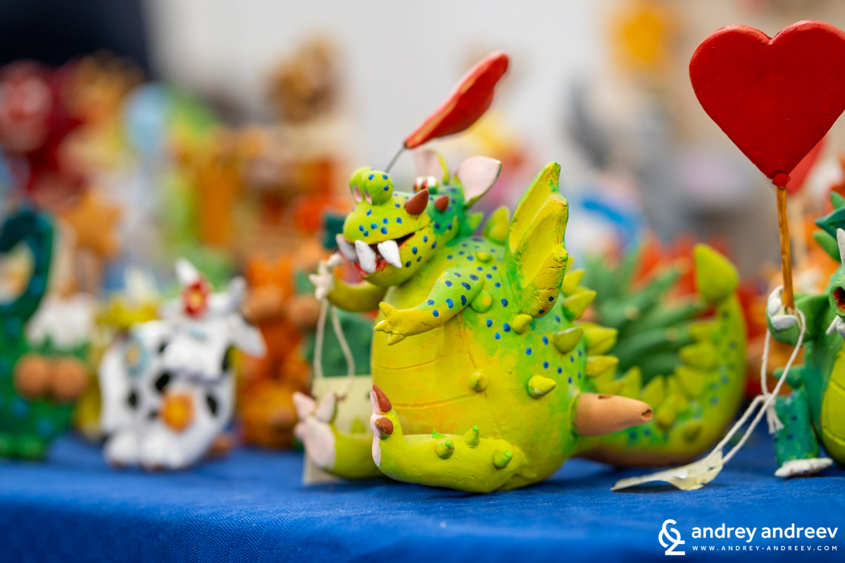 Ceramic toys and decorations sold at La Cappedha fair in Taviano, Puglia, south Italy