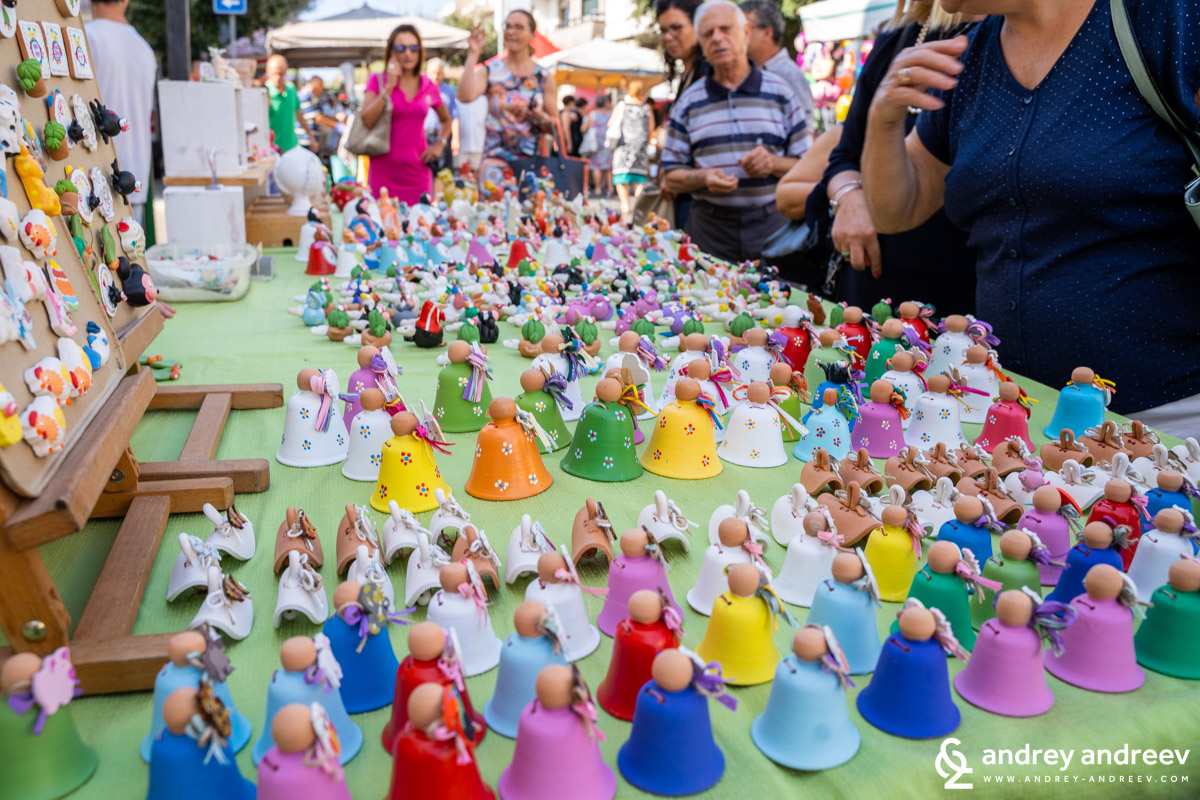 The colourful stalls at La Cappeddha festival in Taviano