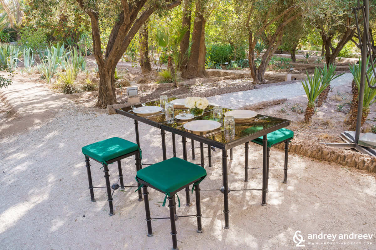 Our lunch corner in the gardens of Jnane Tamsna