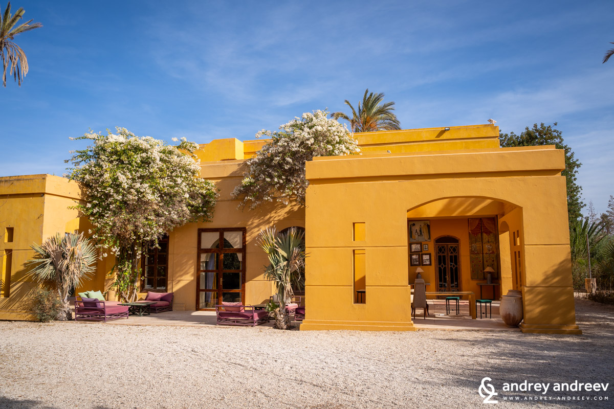 The yellowish buildings of Jnane Tamsna hotel near Marrakech, Morocco