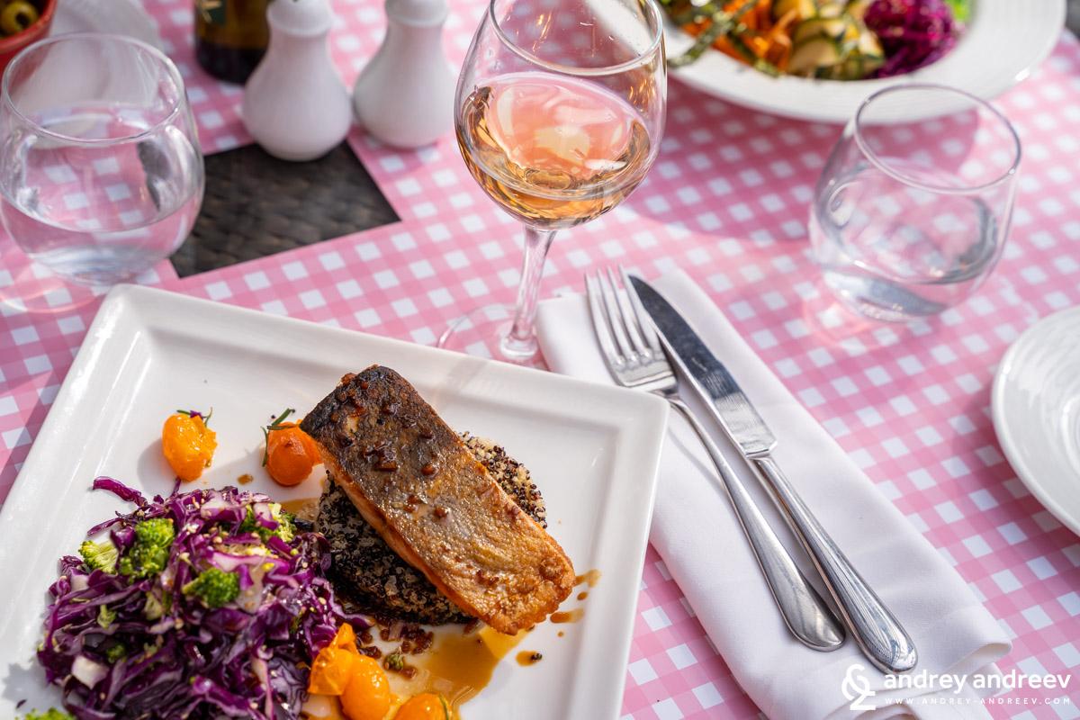Teriyaki salmon and a glass of wine